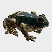 Carolee Green Enamelled Gold Tone Frog Pin