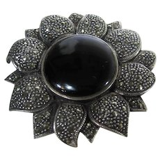 Sterling Silver Marcasite Flower Pin with Faux Onyx Center