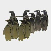 Sterling Silver Mexican Raft of Penguins Pin