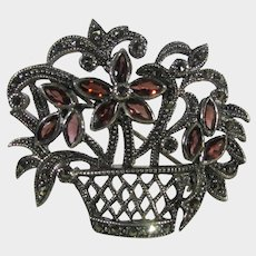 Sterling Silver Marcasite and Garnet Bouquet Pin