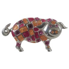 Piggy Pin in Silver Tone With Enamelled  Body