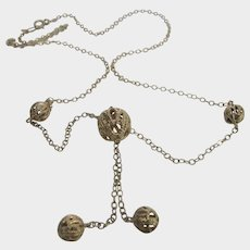 14 Karat Yellow Gold Necklace WIth Multiple Filagree Ball Accents