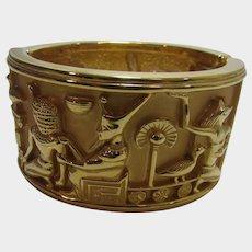 Elizabeth Taylor Egyptian Themed Gold Tone Cuff