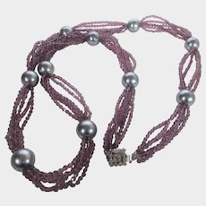 William De Lillo For Adolpho Runway Necklace with Amethyst Crystals and Silver Tone Faux Pearls