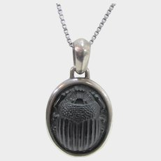 David Yurman Sterling Pendant With Carved Onyx Scarab on a Sterling Silver Chain