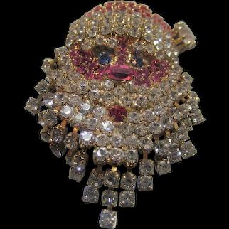 Santa Claus Head Pin With Moving Crystal Beard