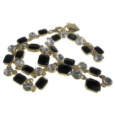 Anne Klein Gold Tone Necklace With Clear and Black Crystals