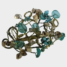 Unique Gold Tone Frame Pin WIth Wired Turquoise Chips, Stones and Art Glass