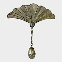 Vintage JJ Brushed Gold Tone Pin Fan With Faux Moonstone and Art Glass Accents