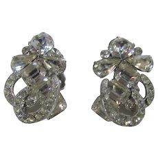 Eisenberg Clear Crystal Clip on Earrings