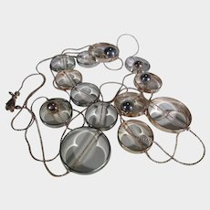 Mixed Metal Modernist Necklace On Rose Color Chain WIth White and Yellow Focals