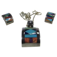 Peyote Bird Native American Sterling Silver Inlaid Pendant and Matching Pierced Earrings