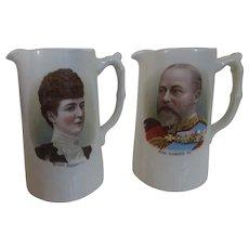 1902 Edward VII and Queen Alexandra Coronation Matching Portrait Pitchers