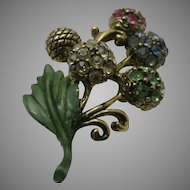 Vintage Signed Hollycraft Multi-color Bouquet Pin