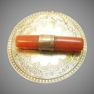 Victorian Engraved Gold Fill Brooch with Natural Coral Branch