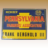 Pennsylvania Farmers' Association Tin Advertising Sign