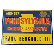 Pennsylvania Farmers' Association Tin Advertising Sign