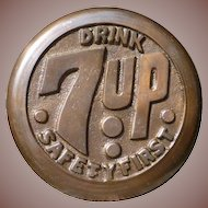 Brass 7UP Advertising Sidewalk Safety Marker