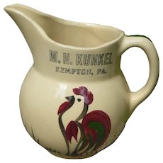 Watt Pottery Rooster Pitcher Pennsylvania Advertising