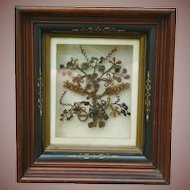 Victorian Mourning Hair Wreath In Nouveau Shadowbox Frame