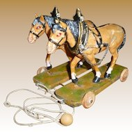 German Two Horse Pull Toy