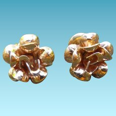 Lovely 14K Flower Earrings For Pierced Ears