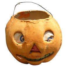 German Halloween Paper Mache Pumpkin Lantern