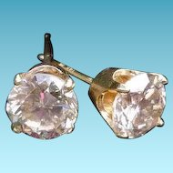 14K 1ctw. Diamond Solitaire Stud Earrings
