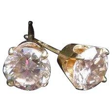 14K 1ctw. Diamond Solitaire Stud Earrings