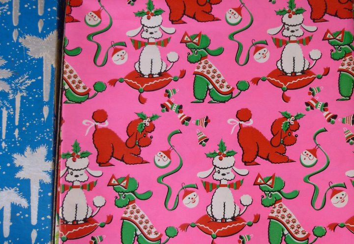 vintage christmas wrapping paper 80 sq ft in original box - Vintage Christmas Wrapping Paper