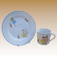 Nippon Child's Cup And Plate Set - Cute Clowns!
