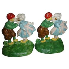 Hubley Cast Iron Dutch Children Bookends