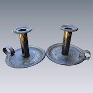 Pair of 19th Century Pennsylvania Dutch Tole Candlesticks