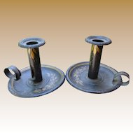 Pair of 19th Century Pennsylvania Dutch Tole Candlesticks