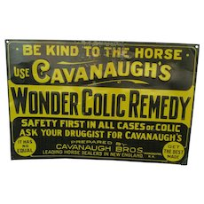 Cavanaugh's Horse Colic Remedy Advertising Sign
