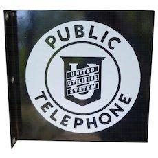 Pristine Porcleain Telephone Flange Sign