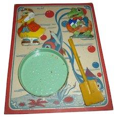 J Chein Tin Litho Sand Toys On Original Card