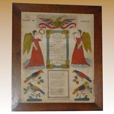 1836 Berks County Pennsylvania Hand Colored Fracktur