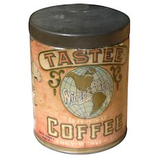 Tastee Coffee Can With Paper Label