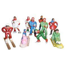 Barclay Lead Figures - Skiers, Skaters, Sledders For Doll Or Train Displays
