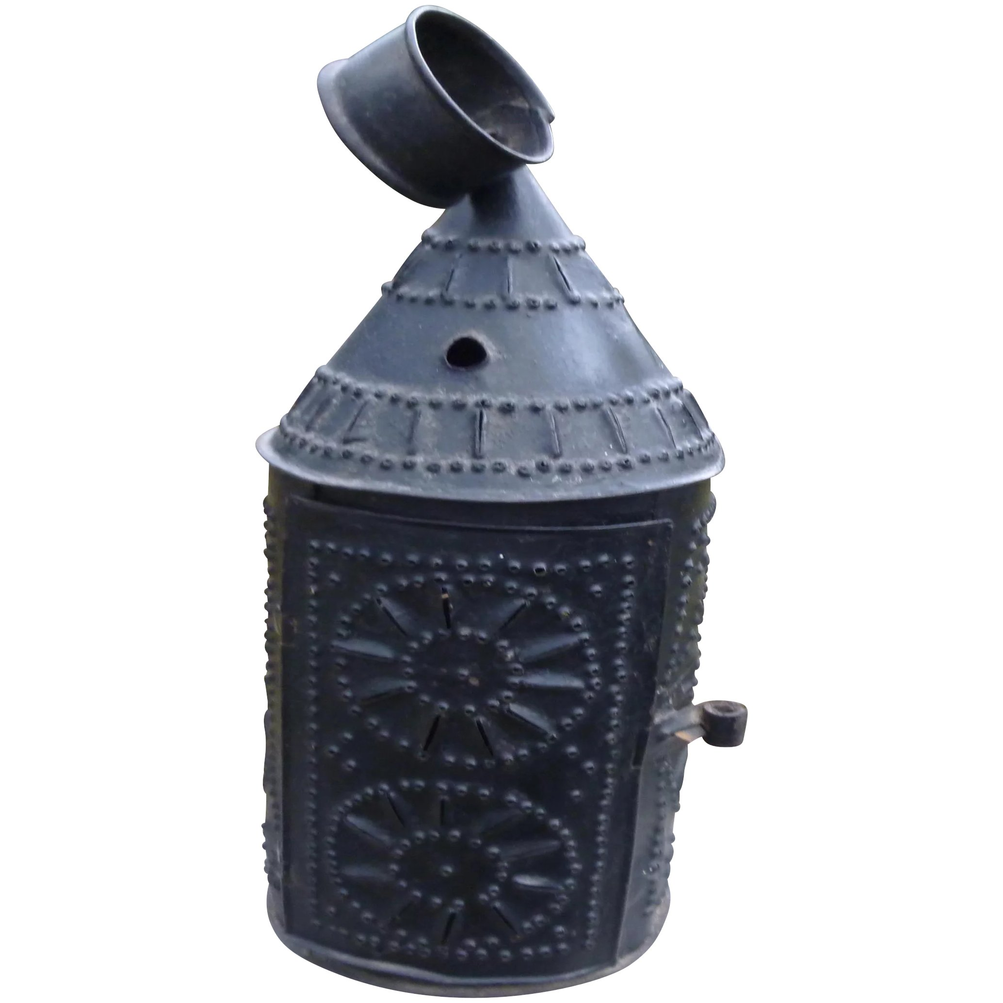 Antique Punched Tin Candle Lantern. Click to expand