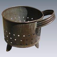 Antique Pierced Tin Cheese Strainer