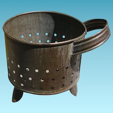 Antique Pierced Tin Cheese Strainer