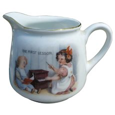 """Sweet Germany Child's Creamer """"The First Lesson"""""""