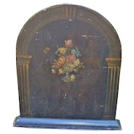 Wooden Fire Screen With Hand Painted Flowers