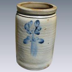 Salt Glaze Stoneware Crock With Cobalt Clovers
