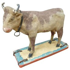 Adorable Cow On Wheeled Platform Pull Toy