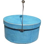 LARGE Antique Pantry Box With Bail Handle In Robin's Egg Blue Paint