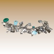 Loaded Vintage Sterling Charm Bracelet - Mechanical Charms And More