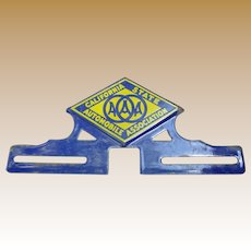 Porcelain AAA California State Automobile Association License Plate Topper